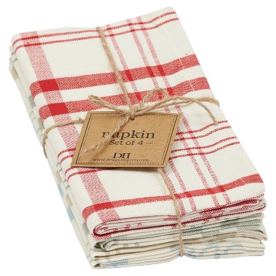 4pc Eggshell Plaid Napkin 18 x18  - Design Imports