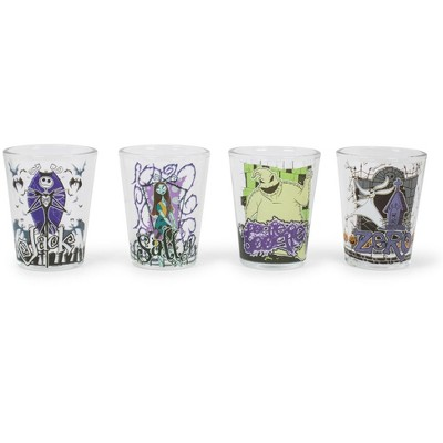 Silver Buffalo Nightmare Before Christmas Characters 4 Piece Mini Glass Set