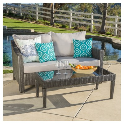 Antibes 2pc Wicker Loveseat and Table - Silver - Christopher Knight Home