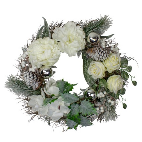 Northlight White And Silver Floral Flocked Pine Artificial Grapevine Christmas Wreath 24 Inch Unlit Target