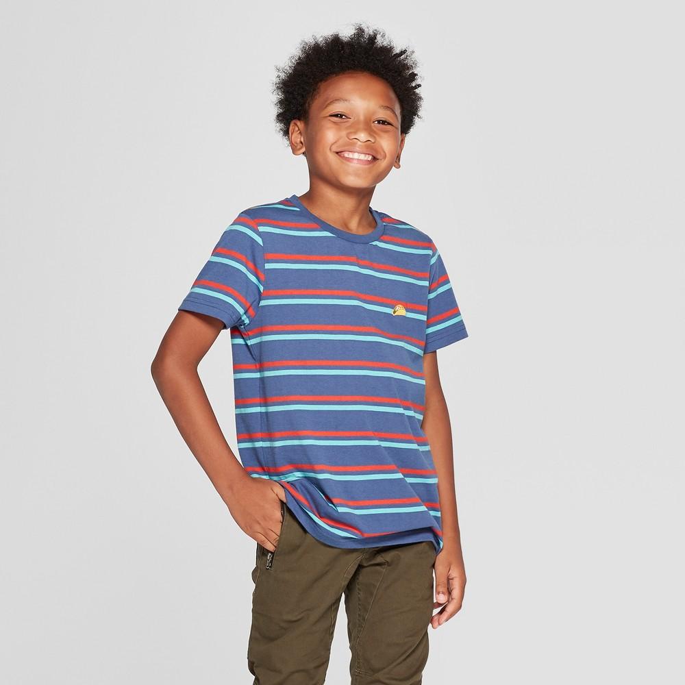 Boys' Short Sleeve Stripe T-Shirt - art class Navy XS, Blue