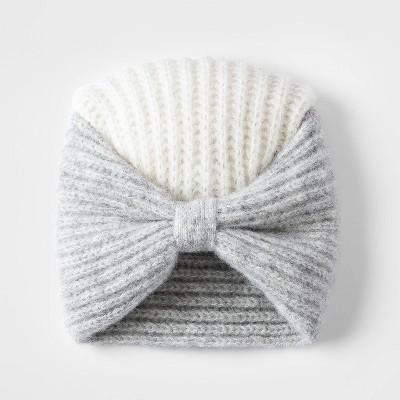 Toddler Girls' Colorblock Bow Turban Hat - Cat & Jack™ Cream/Heather Gray 0-6M