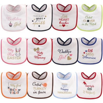 Hudson Baby Infant Girl Cotton Terry Drooler Bibs with Fiber Filling 12pk, Holiday Girl Sparkle, One Size
