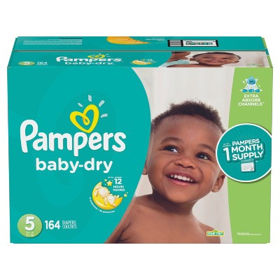 Pampers Baby Dry Disposable Diapers One Month Supply - Size 5 (164ct)
