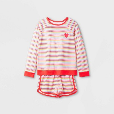 Girls' 2pc Heart Rainbow Pajama Set - Cat & Jack™ White