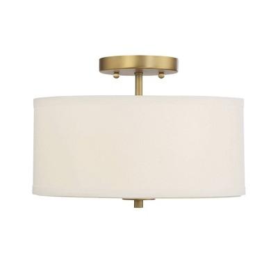 2 Light Semi Flush Mount with Fabric Shade Natural Brass - Aurora Lighting