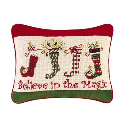 """C&F Home 12"""" x 16"""" Dancing Stocking Needlepoint Pillow"""