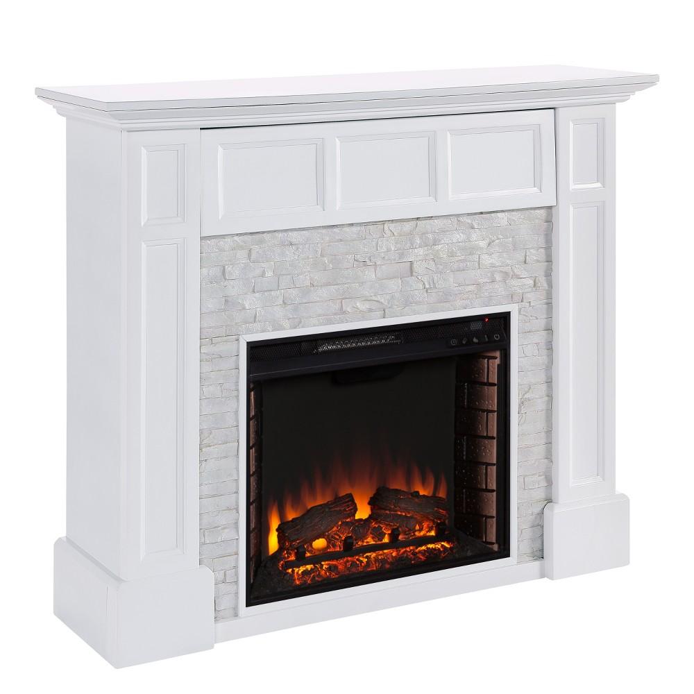 Brayton Faux Stone Media Fireplace White - Aiden Lane