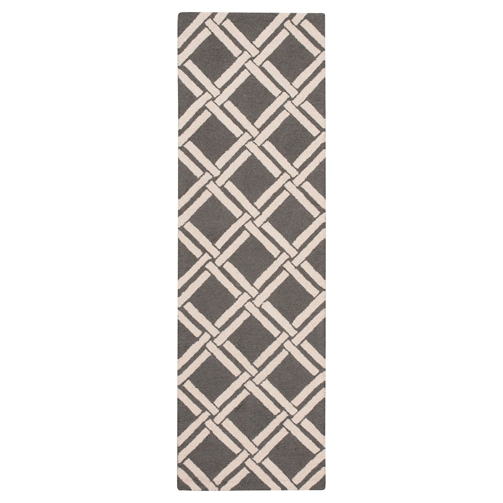 "Image of ""Nourison Diamond Lattic Linear Accent Rug - Gray/Ivory (2'3""""X7'6"""" Runner)"""