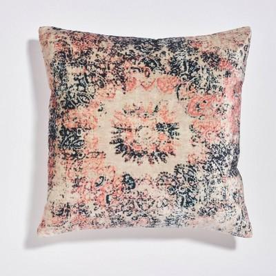 "18""x18"" Cameo Distressed Print Velvet Throw Pillow Blush - Sure Fit"