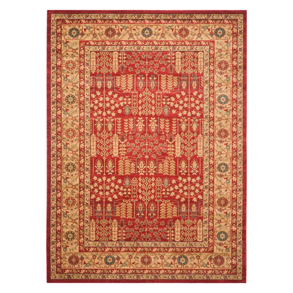 Floral Area Rug Red/Natural