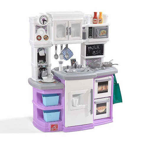 Step2 Great Gourmet Kids Play Pretend Mini Kitchen Playset With 36 Piece Accessory Set Double Oven Microwave And Fridge For Toddler Food Cooking Target