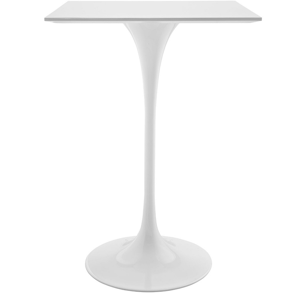 Lippa 28 Square Wood Top Bar Table White - Modway