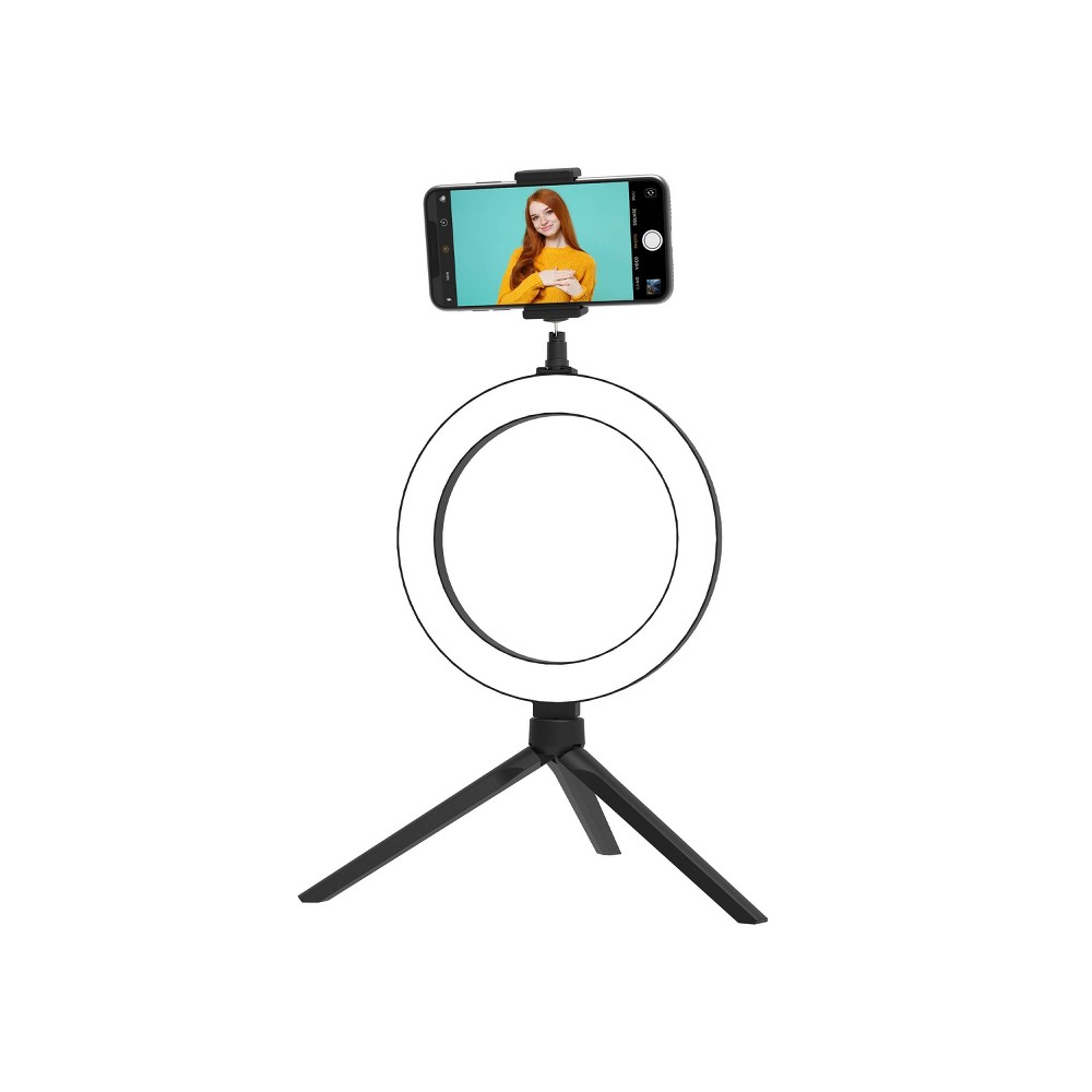 Tzumi Onair Halo Light 8 34 Portable Led Ring Light With Stand And Phone Holder
