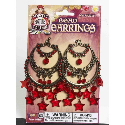 Forum Novelties Gypsy Chandelier Costume Earrings With Dangling Red Stars - image 1 of 1
