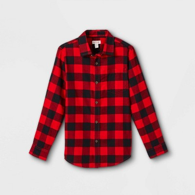 Boys' Flannel Button-Down Long Sleeve Shirt - Cat & Jack™