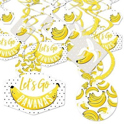 Big Dot of Happiness Let's Go Bananas - Tropical Party Hanging Decor - Party Decoration Swirls - Set of 40