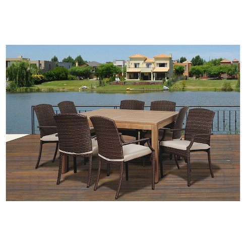 Islamorada 9 Pc Teak Square Patio Dining Set Brown Target