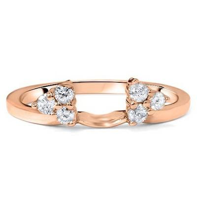 Pompeii3 1/4ct Diamond Guard Ring Enhancer Wedding Band 14K Rose Gold