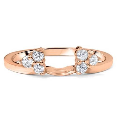 Pompeii3 1/4ct Diamond Guard Ring Enhancer Wedding Band 14K Rose Gold - image 1 of 2