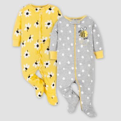 Gerber Baby Girls' 2pk Dotted and Daisy Print Sleep N' Play - Yellow/Gray 0-3M