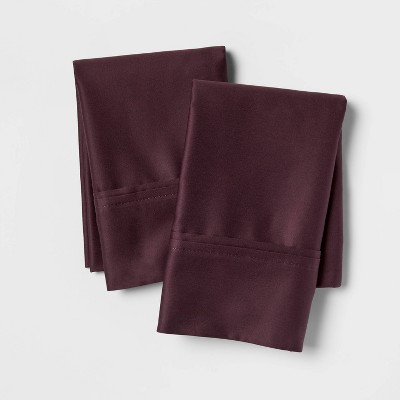 Standard 400 Thread Count Solid Performance Pillowcase Set Dark Purple - Threshold™