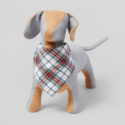 Tartan Plaid Brushed Wool-like Dog Fleece Bandana - White - Wondershop™