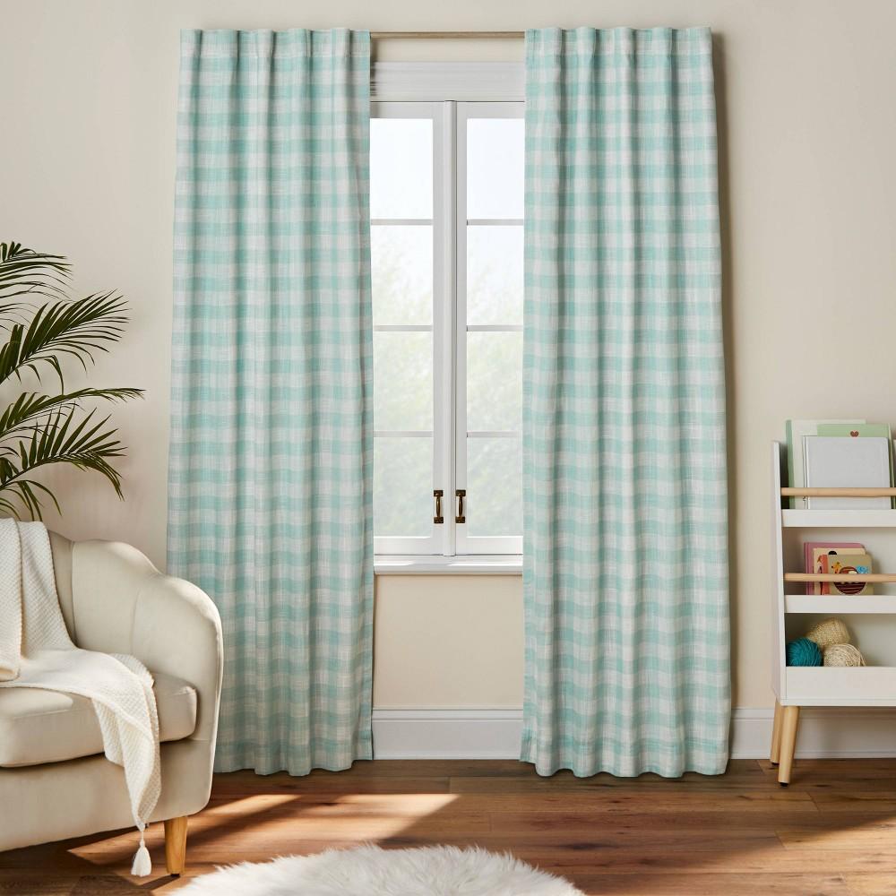 84 34 Blackout Simple Print Gingham Tie Top Panel Green Pillowfort 8482