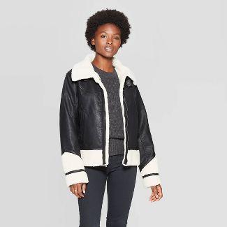 Women's Sherpa Moto Jacket - Universal Thread™ Black M