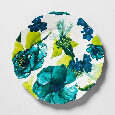 Melamine Salad Plate 8.4  Blue/Green Floral - Opalhouse™