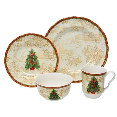 222 Fifth 16pc Dinnerware Set Christmas Toile