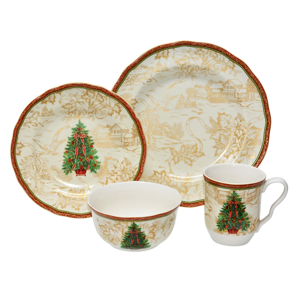 Image of 222 Fifth 16pc Dinnerware Set Christmas Toile, White/Red