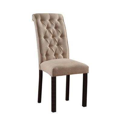 Set of 2 Button Tufted Transitional Side Chairs Black/Ivory - Benzara