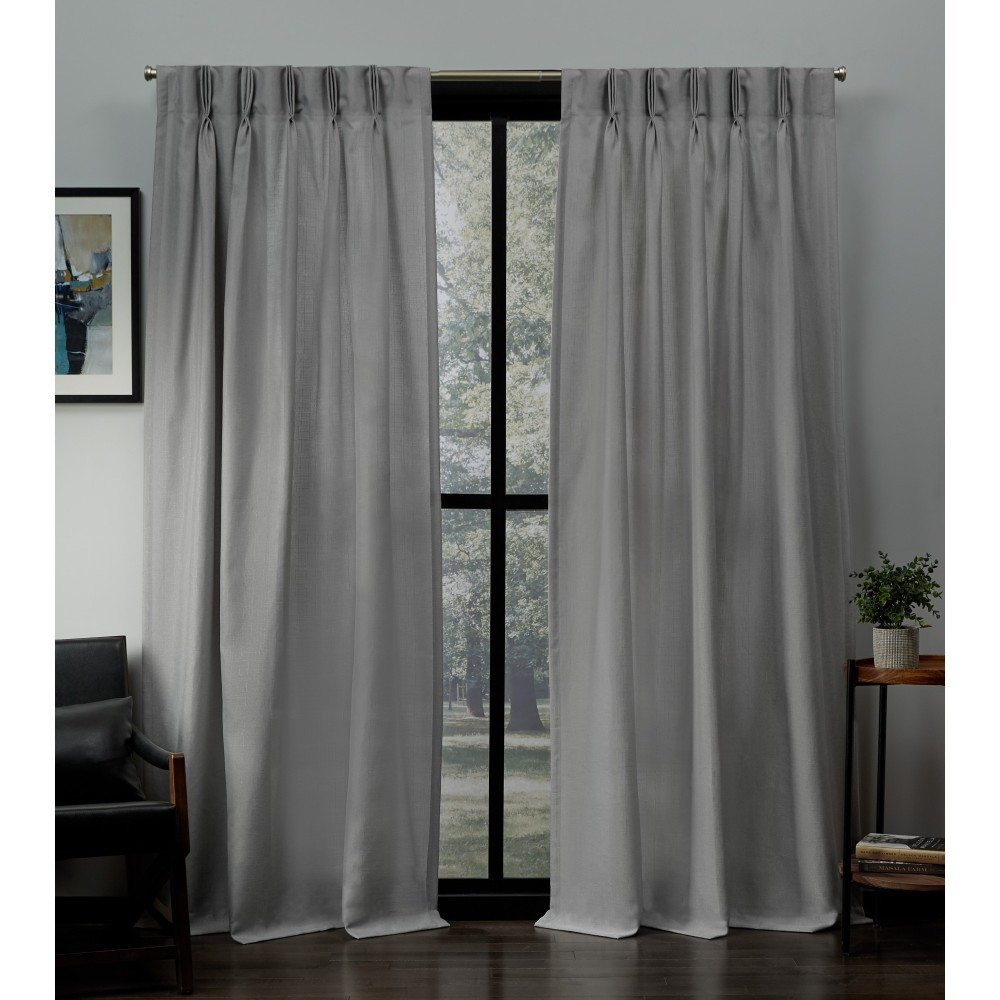 "Image of ""27""""x96"""" Loha Linen Pinch Pleat Window Curtain Panel Pair Dove Light Gray - Exclusive Home"""