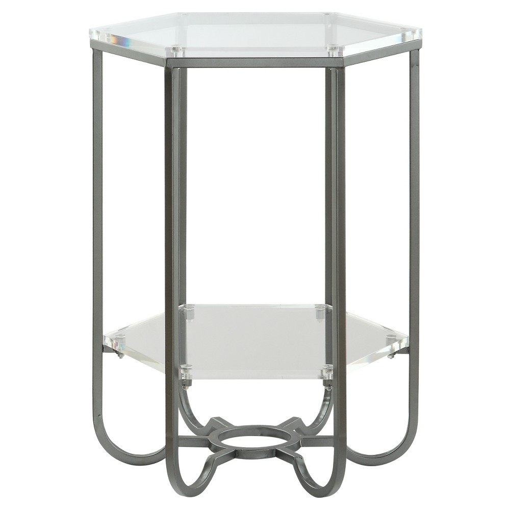 Harris Hexagon 2 - Tiered Acrylic Accent Table - Clear - Treasure Trove