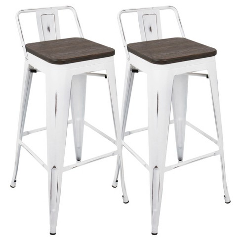 Excellent Oregon Industrial Low Back Bar Stool With Vintage Set Of 2 White Frame And Espresso Wood Lumisource Ibusinesslaw Wood Chair Design Ideas Ibusinesslaworg