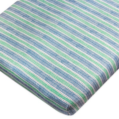 Honest Baby Organic Cotton Fitted Crib Sheet - Teal Geometric