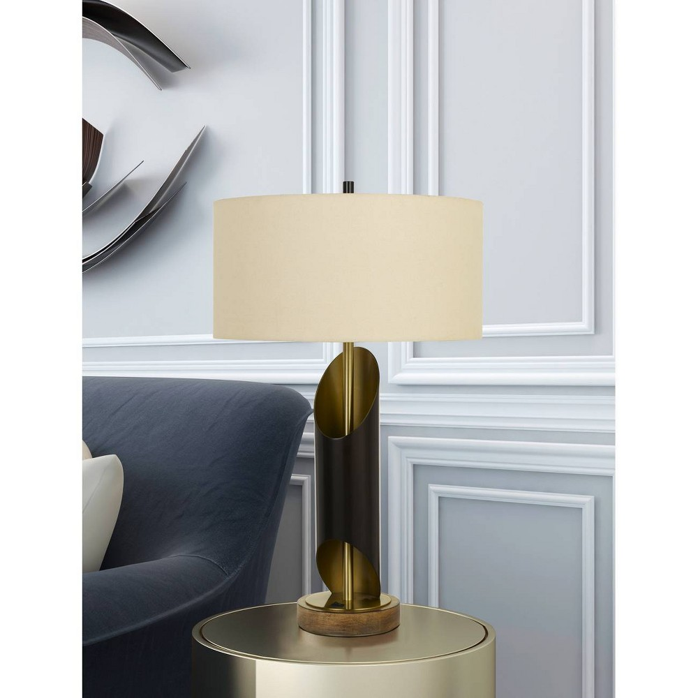 Image of 100W Lommel Metal Table Lamp Black/Antique Brass (Lamp Only) - Cal Lighting