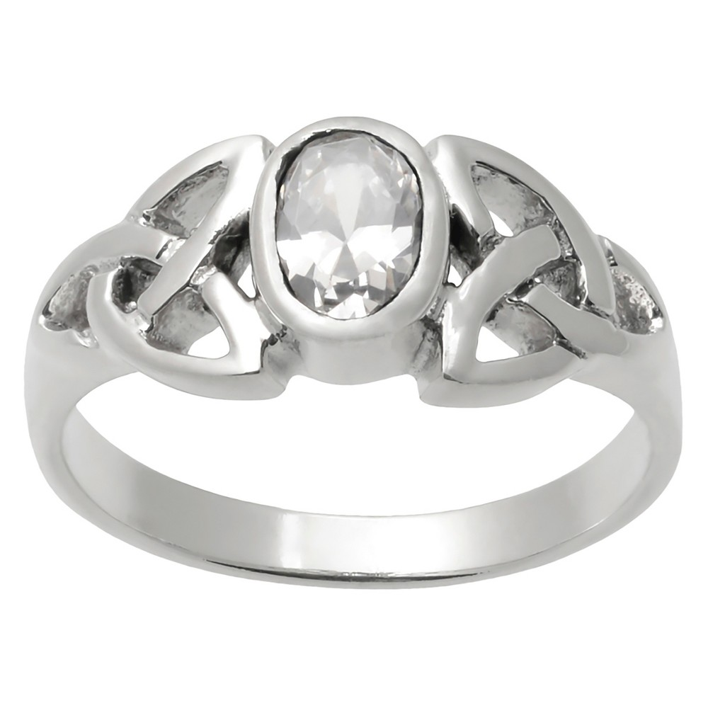 1/6 CT. T.W. Oval-cut Cubic Zirconia Celtic Knot Bezel Set Ring in Sterling Silver - Silver, 7, Girl's