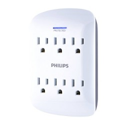 Philips 6-Outlet Surge Protector Wall Tap, White