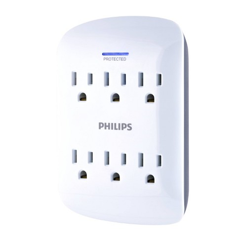 Philips 6-Outlet Surge Protector Wall Tap, White - image 1 of 4