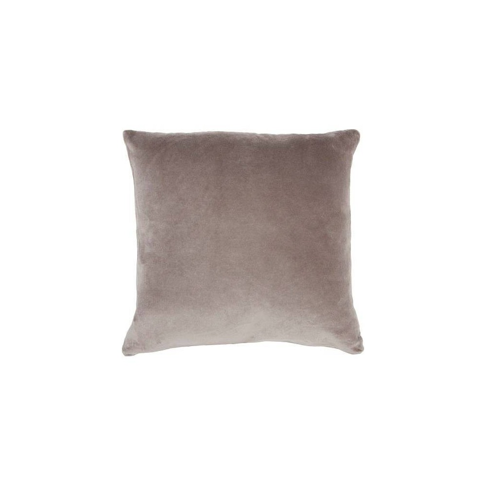 Image of Life Styles Solid Velvet Square Throw Pillow Taupe - Nourison