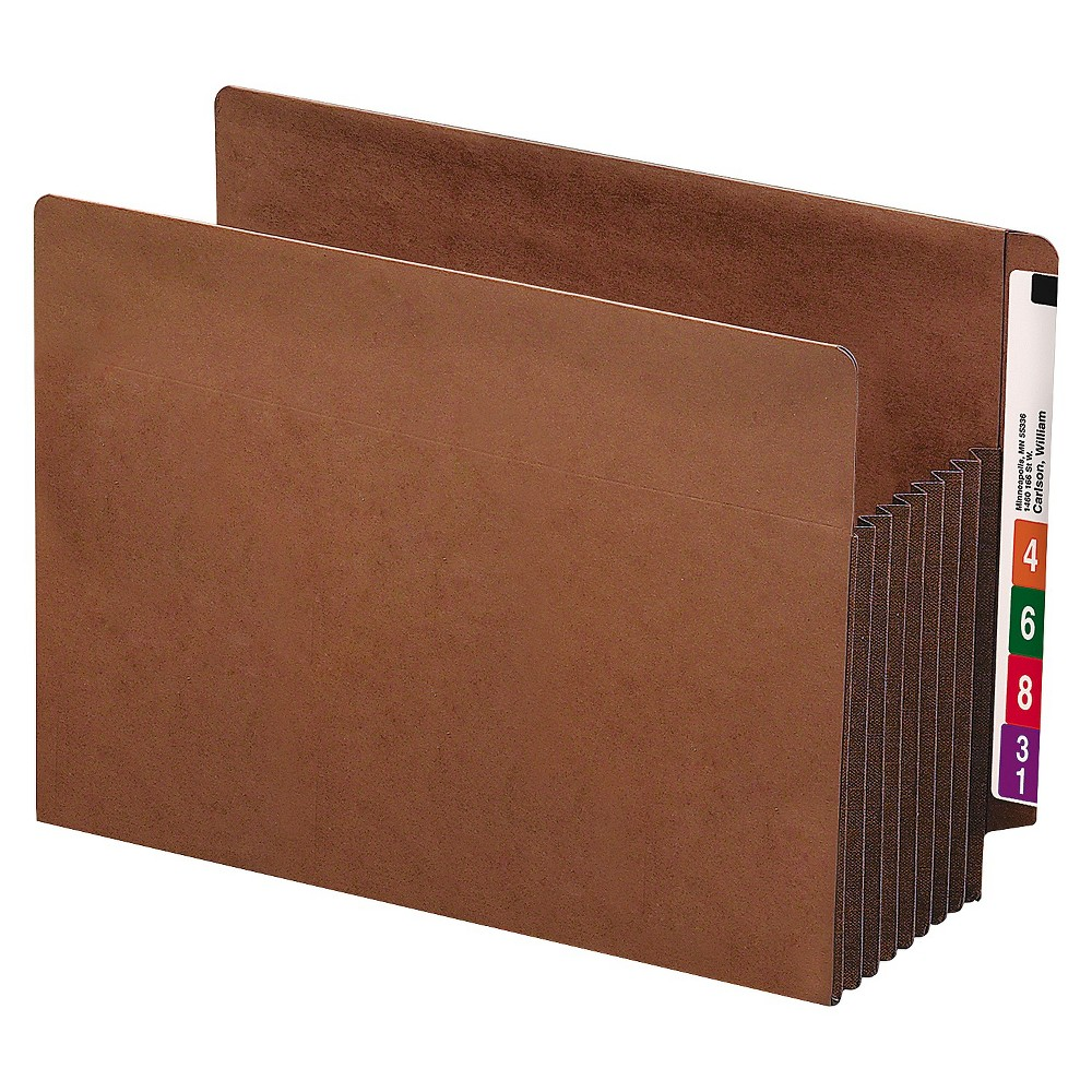 "Image of ""Smead 7"""" Accordion Expansion File Folders TUFF Pockets, Straight Tab, Letter, Redrope, 5/Box"""