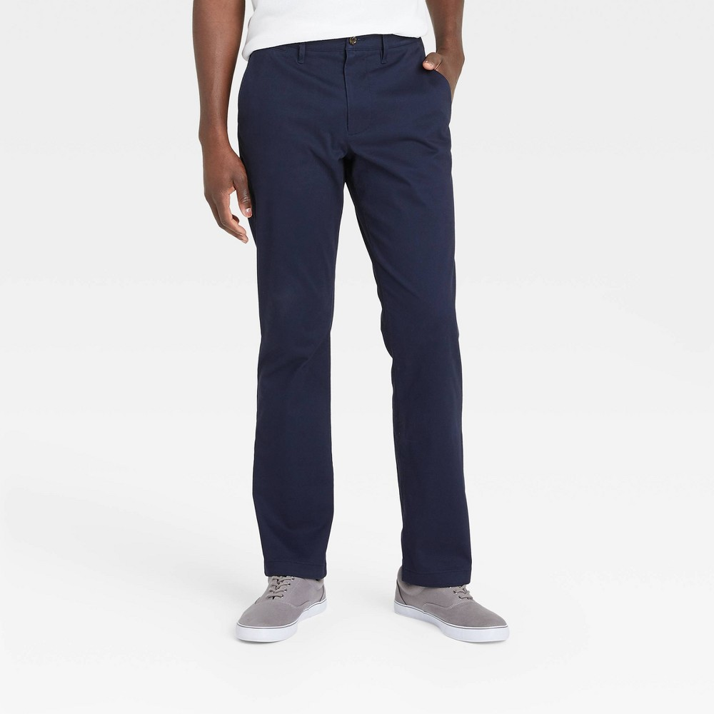 Men 39 S Straight Fit Chino Pants Goodfellow 38 Co 8482 Blue 30x30