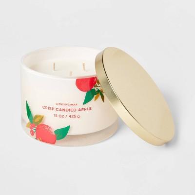 15oz Lidded Glass Jar Cream Apple Print3-Wick Crisp Candied Apple Candle - Opalhouse™