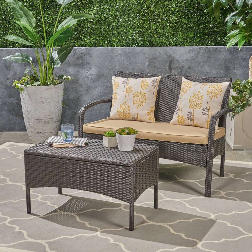 Cordoba 2pc Wicker Loveseat and Coffee Table - Brown/Tan - Christopher Knight Home