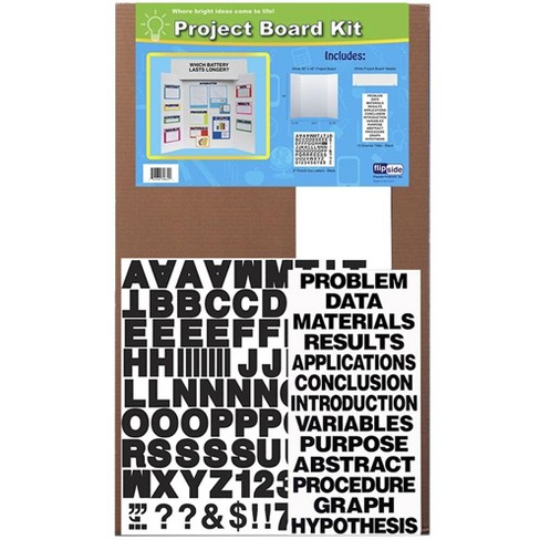 Flipside Project Board Kit with Black Letters and Titles, 36 x 48 Inches, White - image 1 of 1