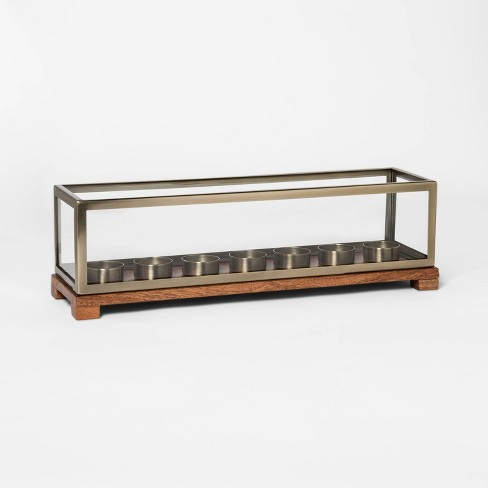 "16.6"" x 4.6"" Wood and Brass Tealight Candle Holder Gold/Brown - Threshold™ - image 1 of 2"