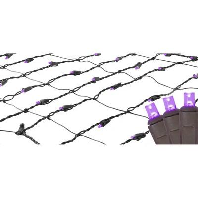 Northlight 2' x 8' LED Tree Trunk Wrap Net Lights Purple - Brown Wire