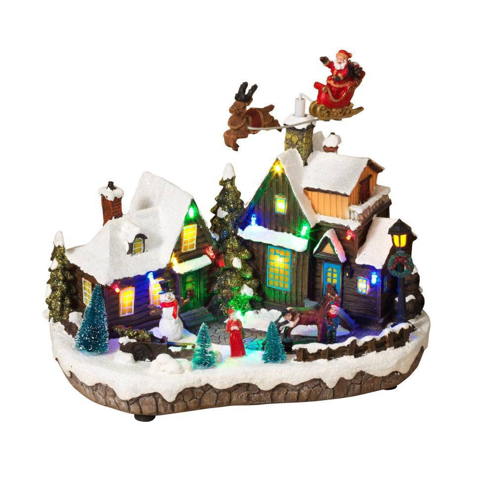 "Image of ""12.4"""" Lit Holiday Village Decorative Figurine - Gerson International"""